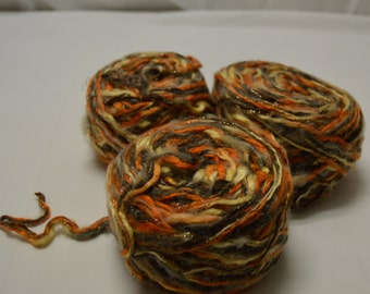 Beautiful!!! Recycled Upcycled Repurpose Worsted Yarn Orange, Brown, Gold, Yellow-Cream