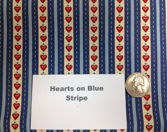 """Hearts on Blue and White Stripe  Fabric - 39"""""""
