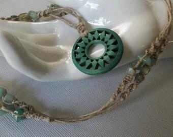 Long HEMP Eyeglass Hanger NECKLACE - Green Sunburst Pendant, stone beads
