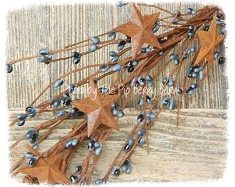 Williamsburg Blue Rusty Star Pip Berry Garland, Blue Garland, Rusty Stars, Primitive Berries