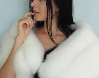 Pure white fox fur stole wrap.SagaFurs