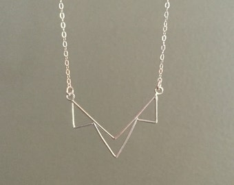 Sterling Silver Triple Triangle Necklace