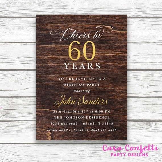 60th birthday dark wood gold foil male birthday invitation adult il570xn filmwisefo