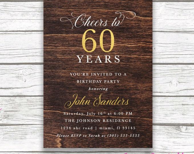60th Birthday Dark Wood Gold Foil Male Birthday Invitation, Adult Cheers to 50 60 80 Years, Cigar Man Birthday, Printed Printable Invite