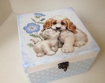 Keepsake box, blue and white trinket- treasury box