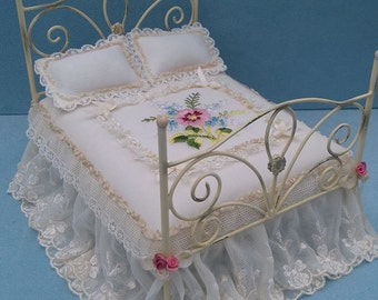 1/12th Scale Wrought Iron style Shabby Chic Bed OOAK