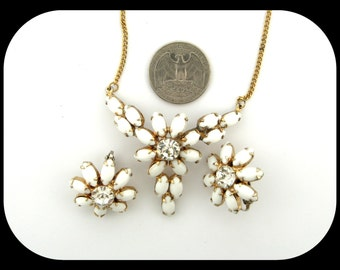 Vintage Floral Gold Plated White Glass Rhinestone Centerpiece Necklace & Clip On Earrings Demi Parure SET