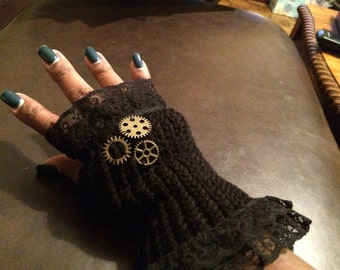 NJ Couture Steampunk Knitted Sleeve and Glove Set