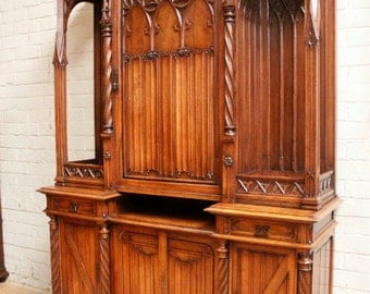Antique French Gothic Cabinet RARE One of a Kind Model Carved Cats and More #5209