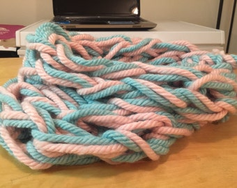 """Arm Knitted Infinity Scarf """"Cotton Candy"""""""