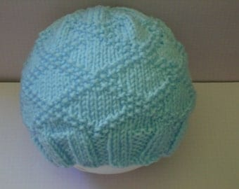 Blue Baby Hat to suit Newborn to 4 months depending on size of Baby