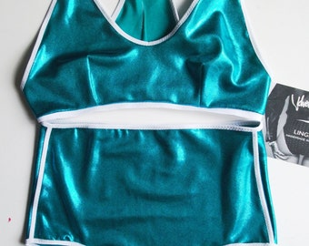 Turquoise BITE ME Halter Neck Handmade Bralette and High Waist Knickers with White elastic trim.