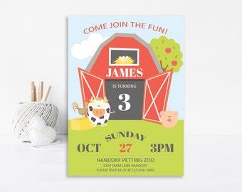 Barnyard Invitation, Farm Invitation, Farm Birthday, Barnyard Birthday, Printable Invitation, Farm Party, Farm Animals, Birthday Invitation