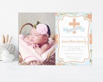 Baptism Invitation, Girl Baptism, Christening, Baptism, Invitation, Christening Invite, Baptism Invite, Printable Invitation, Peach and Blue