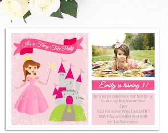 Princess Birthday Invitation - Princess Invitation - Printable Invitation - Princess Party - Girls Birthday Invitation - Personalized GB21