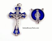 Miraculous Medal Blue Enamel Rosary Crucifix and Center Set | Italian Rosary Parts
