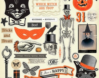 Halloween Chipboard Elements with Black Glitter, Scrapbooking, Skeletons, Black Cats, Witches, Vintage Halloween, Pumpkins, Halloween Decor