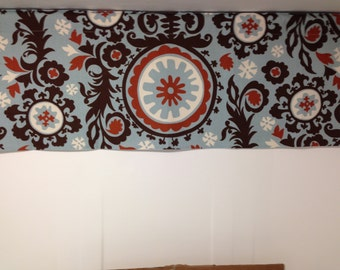 Lined valance, suzani, aqua, brown, rust, natural, printed cotton, 42W x 16H