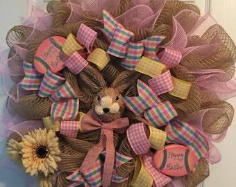 Easter Wreath, deco mesh wreath, burlap deco mesh wreath