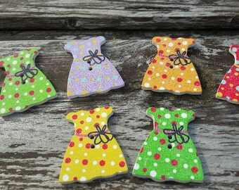 Summer dress buttons, buttons, pretty buttons, multi-coloured buttons, 2 hole buttons, wooden buttons, lot buttons, boutons, scrapbook