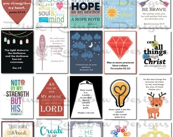 20 Bible Verse Lunch Box Notes Cards with Verses for Kids Children Kindergarten | back to school | Religious | Lunch Surprise Scripture