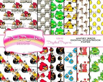 Angry Birds Digital Pattern Scrapbook Paper ~ Party Printable ~ Decorative Paper ~ Instant Download