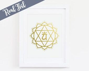 Heart Chakra, Anahata, Gold Foil Print, Chakra Poster, Chakra Wall Art, Anahata 4th Chakra, Meditation Art