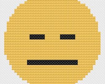 Expressionless emoji: cross stitch pattern