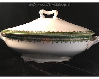 Covered serving bowl; N.D. & Co. Carlsbad China, Austria; 1.5 quart; dark green and gold on white; vintage china casserole