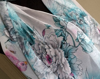 Scarf shawl wrap sarong cover up Fichu with blue grey gray pink flowers multi birthday wedding party
