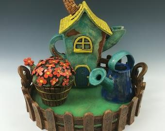 Fairy Garden Tea Set // Tea Set // Teapot with Sugar Bowl, Creamer // Whimsical Tea Set // Garden Tea Set