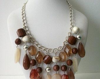 ON SALE Vintage Silver Tone Links Earthy Necklace Earrings Set 1501