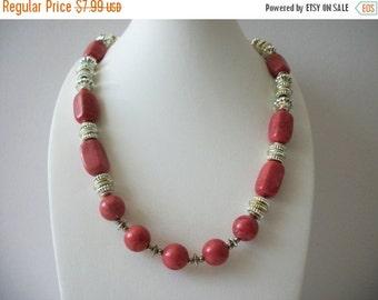 ON SALE Vintage 1970s Silver Reddish Pink Necklace 8916