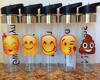 Emoji Water Bottle WITHOUT Name  - Choose your Emoji!