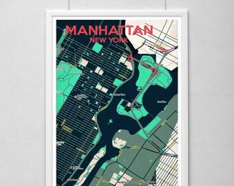 Manhattan Map Poster Set Minimalistic Design