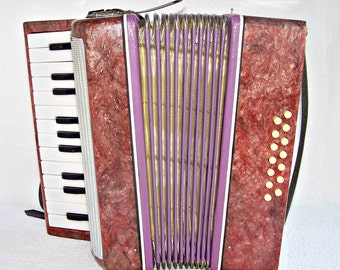 """Vintage Soviet Piano Accordion for Children. Accordion """"Malysh"""" for Beginners. Vintage Musical Instrument. USSR Musical Toy."""