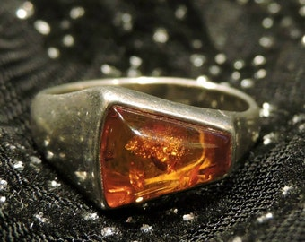 Amber Ring Sterling Silver