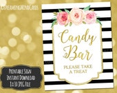 Printable Candy Bar Sign 8x10 Pink Watercolor Flowers Gold Black and White Stripes Wedding, Bridal Shower, Baby Shower Digital Download