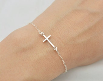 Sterling Silver Cross Bracelet, Tiny Cross Bracelet, Floating Cross Bracelet, Sideways Cross, Mini Cross Bracelet, Gift for Her 0383