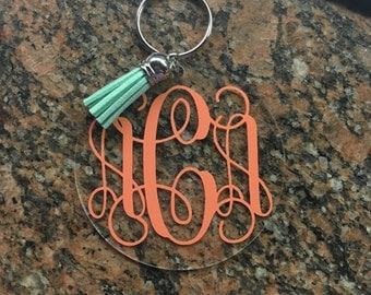 Monogram Tassel Keychain
