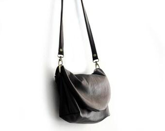 Leather CROSSBODY bag made of italian leather  color black. Sofia leather crossbody bag