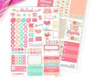 Dreamy Floral Mini Planner Sticker Kit - Erin Condren Stickers / Erin Condren Planner Stickers / Happy Planner / Day Designer - mk7