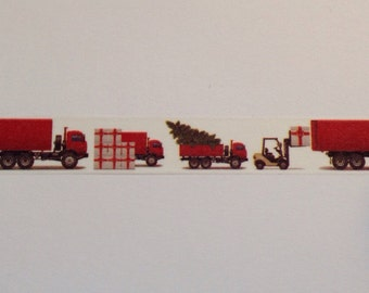 """Christmas Delivery Trucks Washi Tape 18"""" Sample"""
