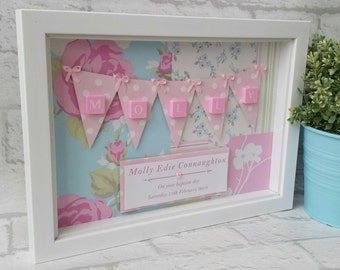 New Baby Girl Gift - Scrabble Wall Art - Scrabble Picture - Scrabble Frame - Bunting Theme - Keepsake Gift - Christening - Nursery Décor