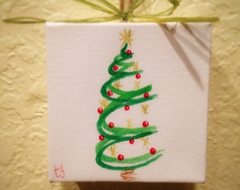 Christmas Tress Painted on Canvas Wall Hanging/Ornament