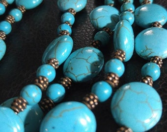Turquoise Color with copper spacers and very nice Toggle