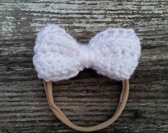 White Bow Nylon Headband / White Nylon Headband / Nylon Headband / Baby Girl Nylon Headband White / White First Birthday Headband