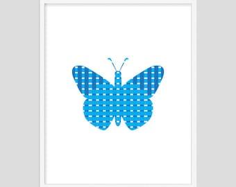 Knitting Butterfly, Print Art, Modern Art, Digital Art, Print,Butterfly, Wall Art Printable