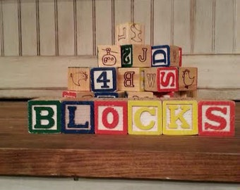 Vintage Wood Nursery Blocks - Wooden Blocks - Vintage Blocks - Vintage Baby Blocks - Baby Blocks - Nursery Decor - Wood Blocks - Blocks