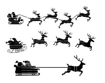 Reindeer SVG, Santa Cutting Files, PNG, SVG, Came, Cricut, Silhouette, Vector Files, Clip Art, Sleigh svg, Cut Files, Svg